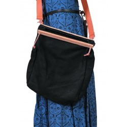 Leather bag with slats